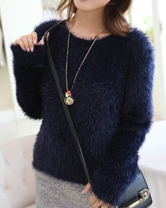 sweater fur fall outfits style navy warm cozy fashion winter outfits blue