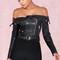 Clothing : jackets : 'romera' black off the shoulder vegan leather jacket