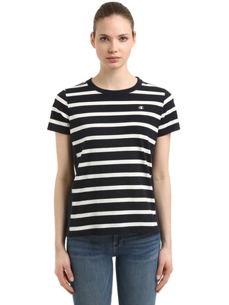 t-shirt shirt cotton t-shirt cotton white blue top