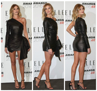 dress one shoulder one shoulder dress rosie huntington-whiteley sandals sandal heels london fashion week 2016 fashion week 2016 leather dress mini dress shoes leather