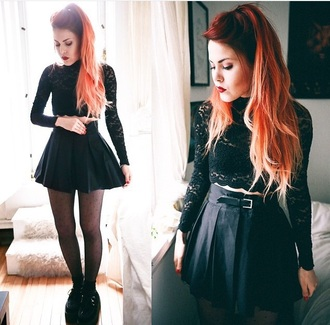 shirt black lace black lace black lace top lace top top black top cute top fashion style le happy luanna perez skirt