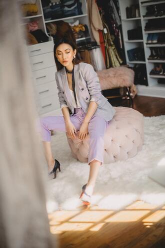 not jess fashion blogger pants jacket tank top scarf jewels shoes blazer grey blazer camisole