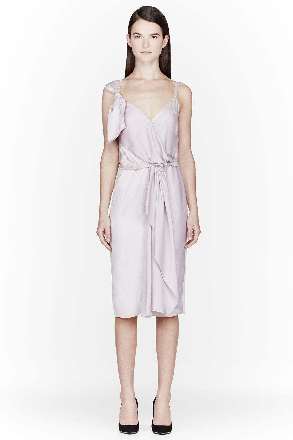 Nina Ricci Lilac Purple Silk Draping Patchwork Dress