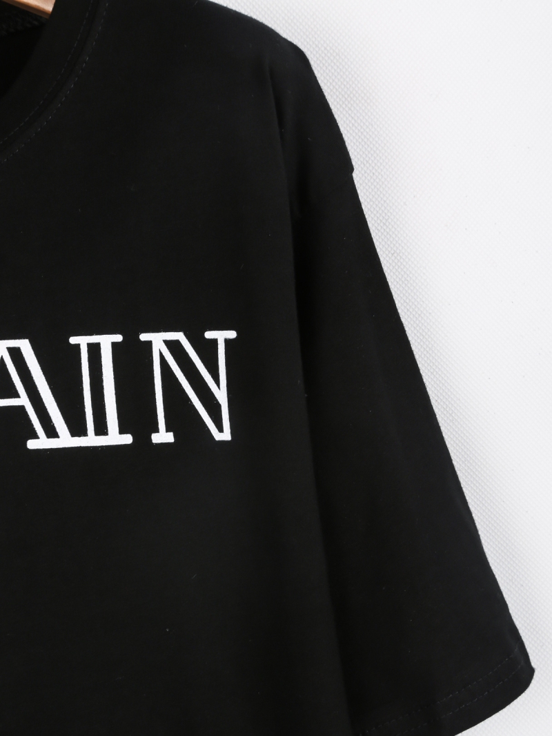 Black Short Sleeve BALMAIN Print T-Shirt - Sheinside.com