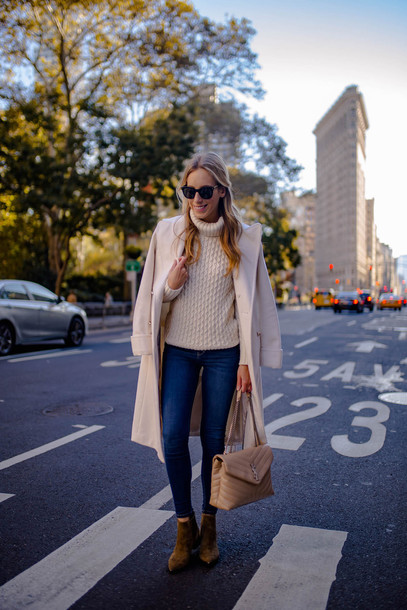 katie's bliss - a personal style blog based in nyc blogger shoes sweater jeans bag sunglasses jewels coat fall outfits turtleneck sweater ysl bag skinny jeans ankle boots