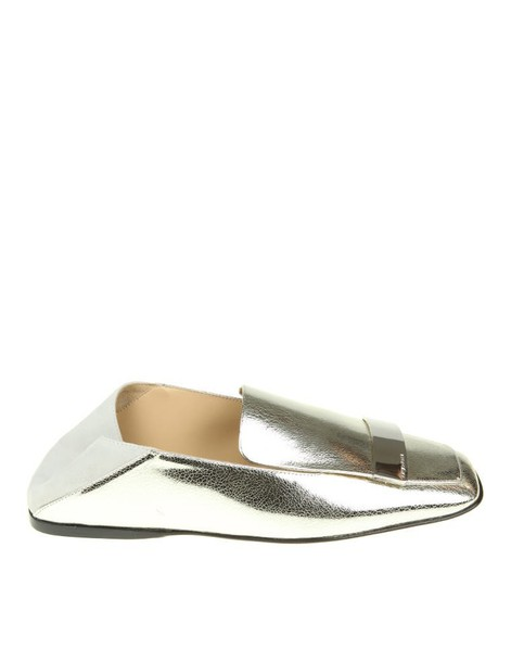 metal loafers silver leather shoes