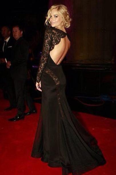 Black Long Sleeve Backless Prom Dress