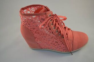 shoes wedges wedge sneakers coral mesh lace up