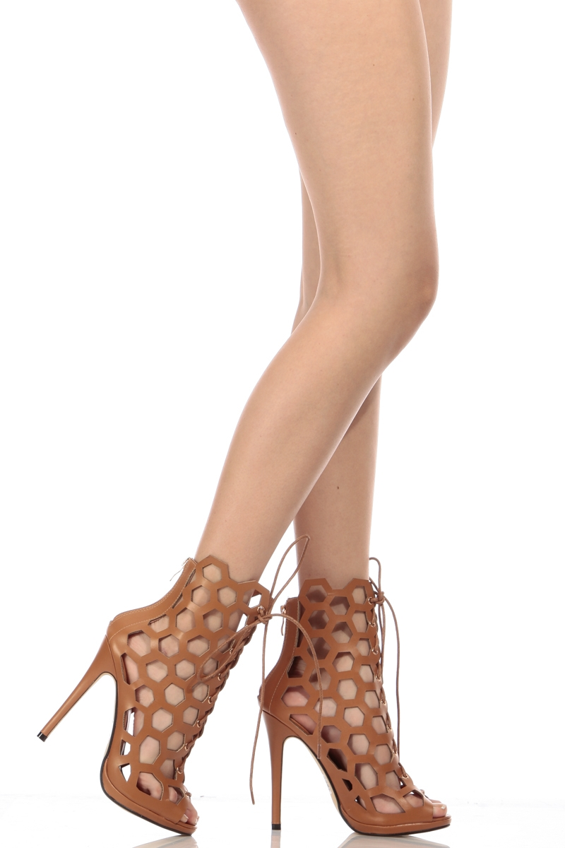 Faux Leather Netted Lace Up Peep Toe Heels @ Cicihot Heel Shoes
