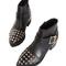 Black studded pu ankle boots - choies.com