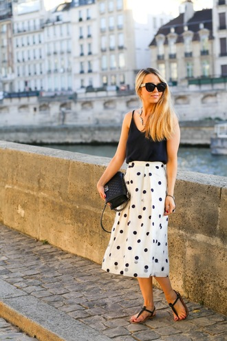 caroline louis pardonmyobsession blogger skirt jewels tank top blue top chanel black bag polka dots maxi skirt sandals statement necklace