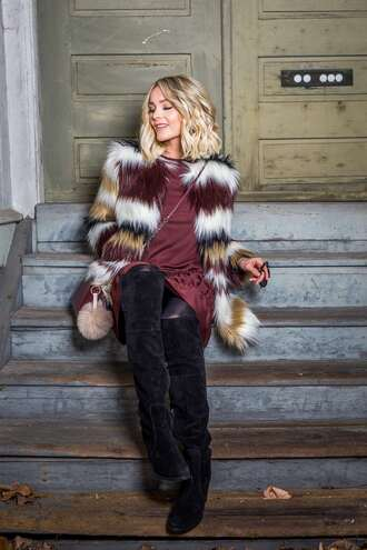 coat tumblr fur coat multicolor dress mini dress burgundy dress burgundy tights boots black boots over the knee boots bag red bag crossbody bag suede boots suede winter date night outfit date outfit printed fur jacket