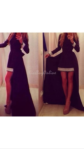 dress black and white dress black dress high low dress long sleeve dress