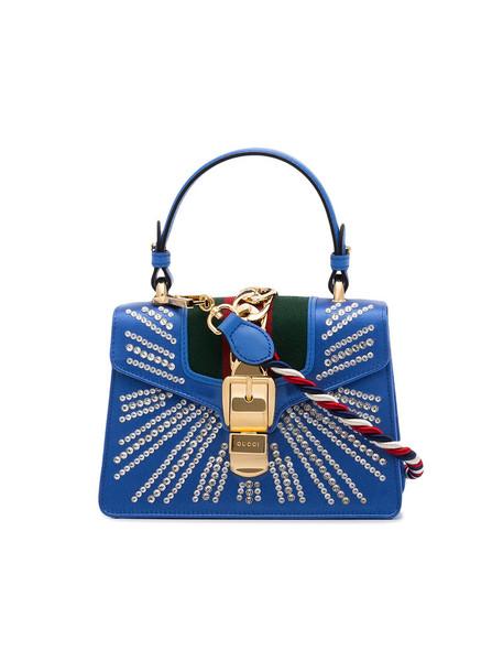 gucci satchel mini women leather blue bag