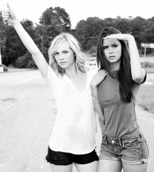 shirt grey shirt nina dobrev candice accola