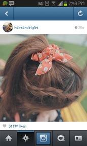hair accessory,bows accesories hair blue,orange,hair,accessories,hair bow,girl,girly,flowers,ponytail,hair/makeup inspo