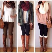 infinity scarf,knitted scarf,parka,white sweater,pink sweater,brown leather bag,brown leather boots,fall jacket,skinny pants,jacket,sweater,boots,bag,shoes,leggings,knee high boots,shoulder bag,brown bag,shorts,sweater boots scarf,blouse,shirt,scarf,boots brown knee high,top,black pants,lace,amiclubwear,red scarf,high boots,green jacket,brown boots