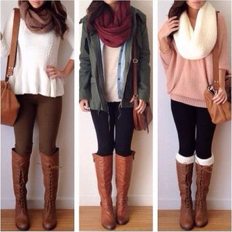 sweater scarf jeans shoes jacket blouse girly all cute outfits tumbrl outfits thick scarf socks everything boots peplum red cute black winter sweater winter outfits white blouse knitwear cream outfit loveit bag brown bags big brown leather bags leather bag school bags fall outfits top white peplum sweater pink knit sweater green jacket scarf red