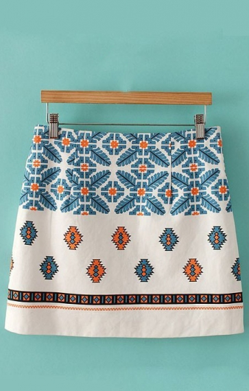 Vintage Pattern Printing Cotton Skirt