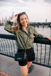 thecollegeprepster,blogger,sweater,jeans,jewels,tank top,top,shirt,shoes,shorts,crossbody bag,black shorts,army green,fall outfits