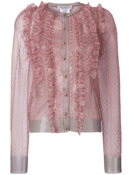 Philosophy di Lorenzo Serafini shirt sheer shirt sheer women purple pink top