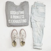 sweater,converse,jeans,blue jeans,ripped jeans,grey,grey sweater,graphic tee,graphic sweater,white,light blue,quote on it,cute,pretty,indie,hipster,urban,classy,boho,shoes,fall outfits,fall sweater,spring,spring outfits,summer,summer outfits,ootd,outfit,outfit idea,tumblr,tumblr outfit,instagram,white converse,shirt