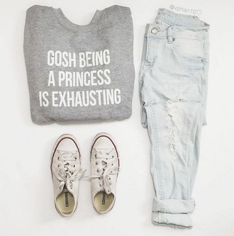 sweater converse jeans blue jeans ripped jeans grey grey sweater graphic tee graphic sweater white light blue quote on it cute pretty indie hipster urban classy boho shoes fall outfits fall sweater spring spring outfits summer summer outfits ootd outfit outfit idea tumblr tumblr outfit instagram white converse shirt