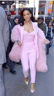 jacket,rihanna pink jump suit,scarf,rihanna pink fur stole,coat,same as picture