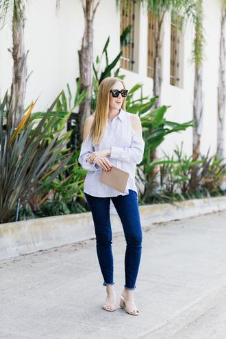 eat sleep wear blogger top jeans bag nail polish clutch sandals skinny jeans shirt
