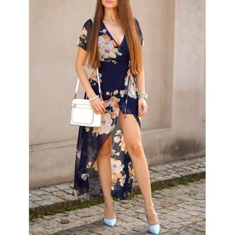 dress navy floral fashion summer spring maxi dress rosewholesale.com