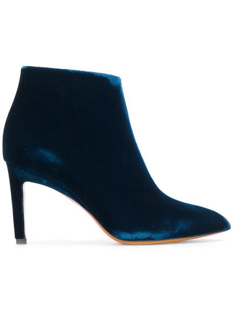 Santoni women pointed toe boots leather blue velvet shoes