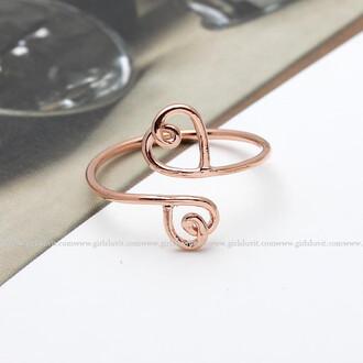 ring heart ring jewels heart love lovely love ring open heart double heart girlfriend