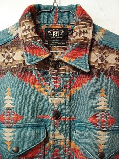 Shirt Aztec Button Up Print Collar Blue Shirt Long Sleeves Shapes Wheretoget