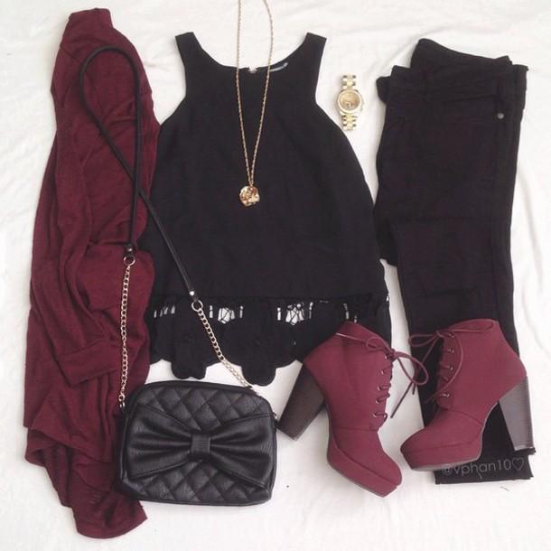 cardigan grundge dark red