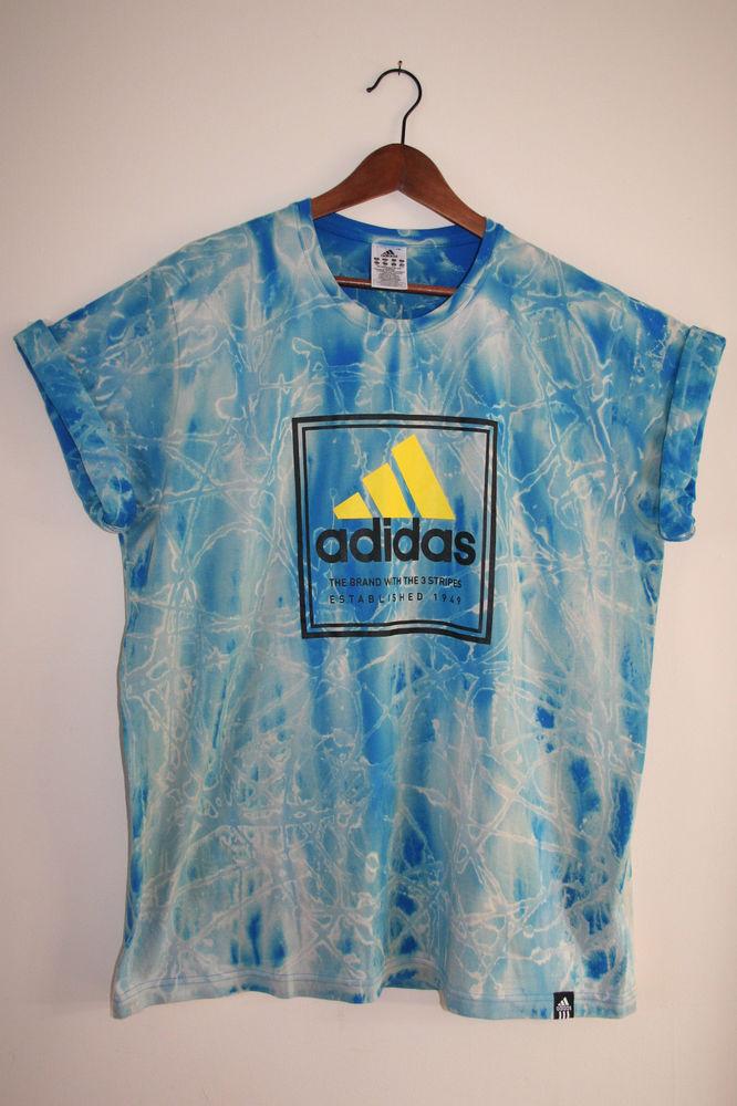 adidas Retro Vintage Acid Wash Tie Dye Festival Unique Tshirt XXL/2XL
