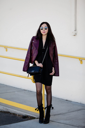 fit fab fun mom,blogger,dress,jacket,tights,shoes,bag,sunglasses,jewels,polka dot tights,mini dress,black dress,little black dress,black bag,chain bag,boots,black boots