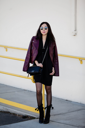 fit fab fun mom blogger dress jacket tights shoes bag sunglasses jewels polka dot tights mini dress black dress little black dress black bag chain bag boots black boots