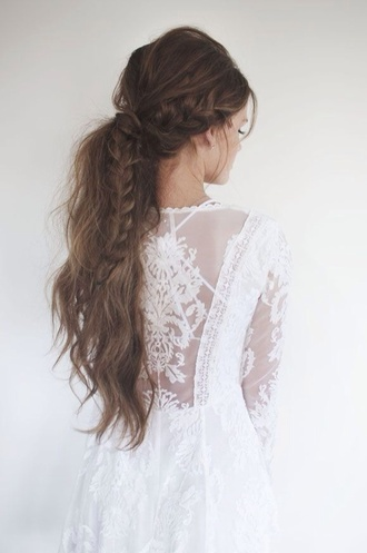 dress white dress hipster wedding wedding dress hairstyles lace top hair/makeup inspo lace dress white summer dress beauty beautiful romantic hair braid ponytail date outfit princess dress pretty dress on point clothing stylish style trending now trend trendy styled long dress popular fashion popular popular blogger popular clothes