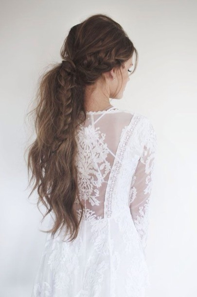 dress white dress hipster wedding lace dress wedding dress hairstyles ponytail date outfit lace top hair/makeup inspo wedding hairstyles romantic dress hair braid white beautiful romantic summer dress beautiful princess dress dress on point clothing stylish style trendy trendy trendy style long dress blogger white lace dress annemerel blogger