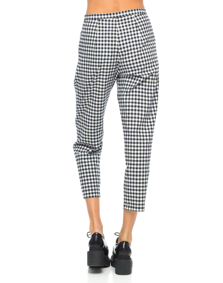 Buy Motel Mason Cropped Trouser in Check Black White at Motel Rocks