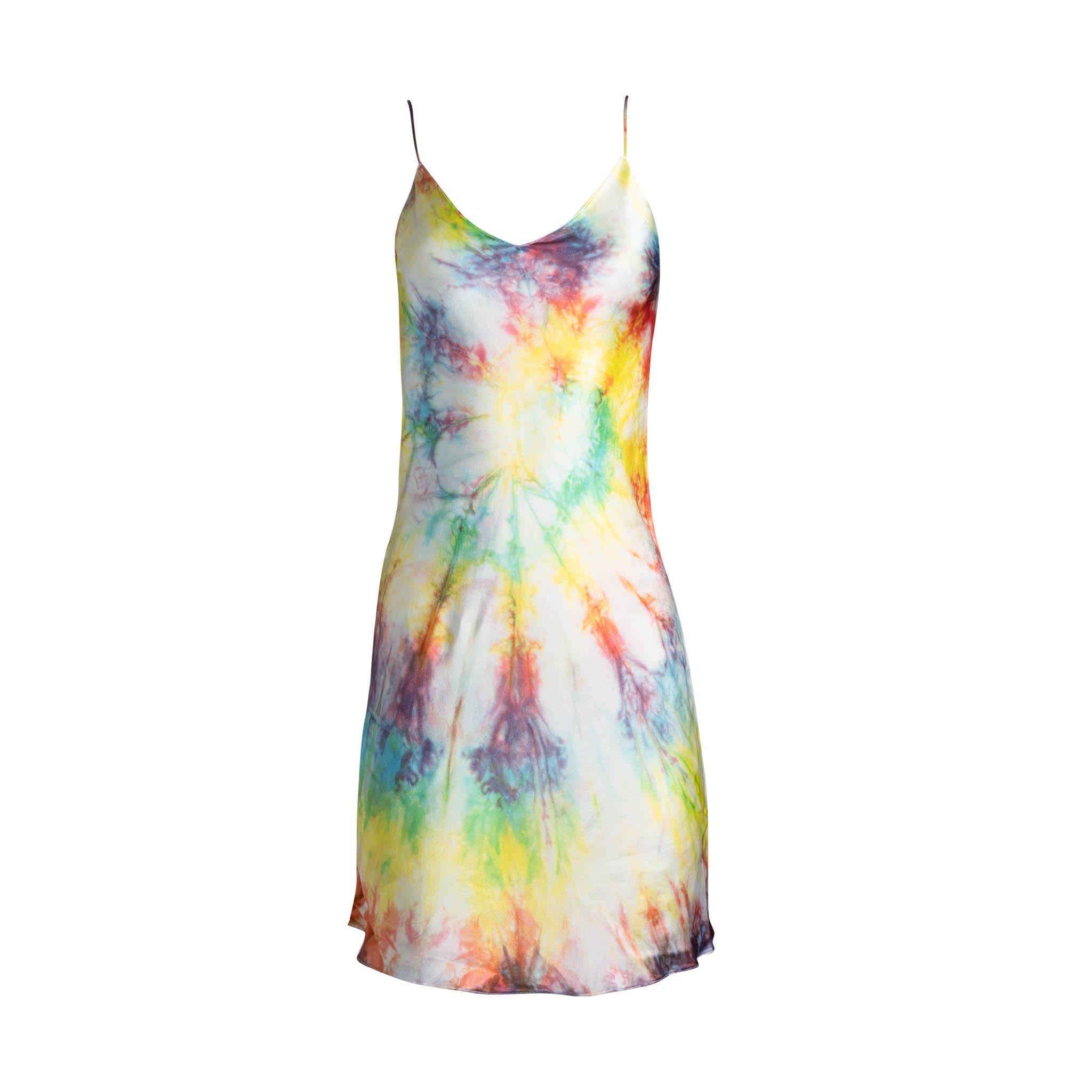 Dannijo Tie Dye Mini Silk Slip Dress  - 90s Redux