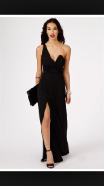 dress black dress maxi dress black maxi dress prom dress side split maxi dress one shoulder plunge dress