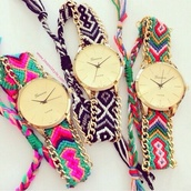 jewels,watch,colorful,aztec,pattern,embroidered,friendship bracelet