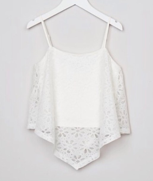 top triangle white lace pretty summer