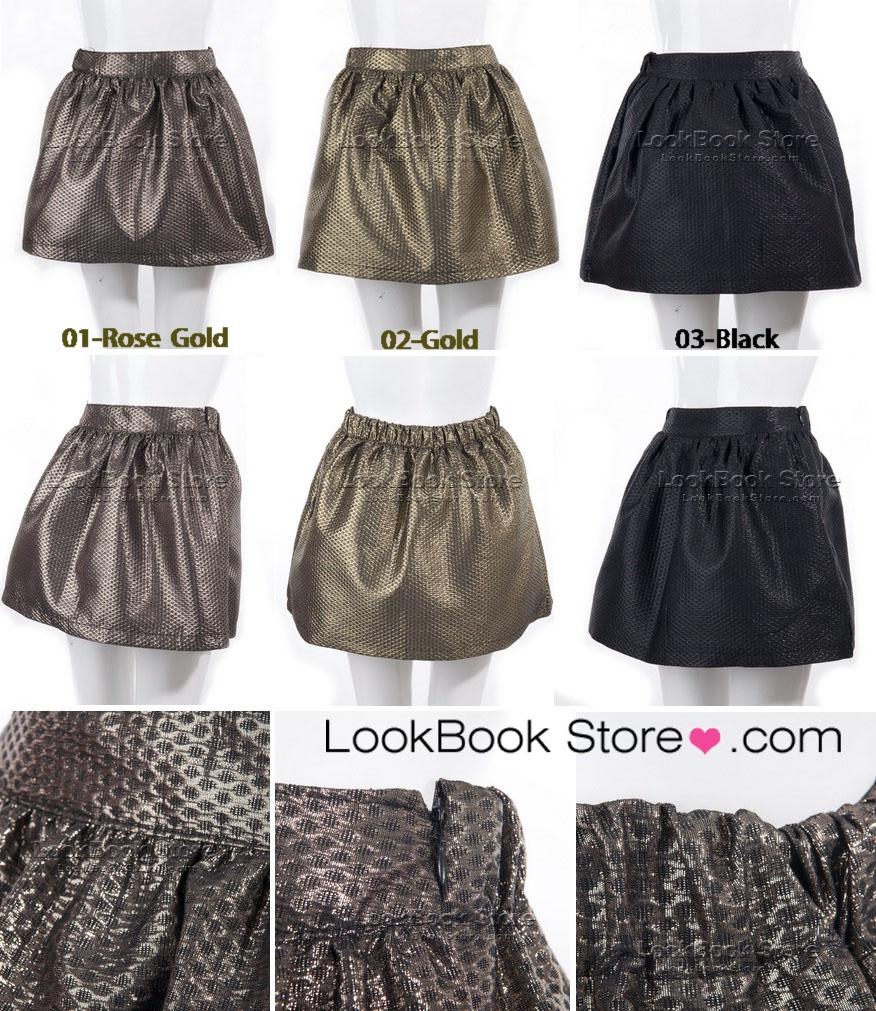 Fancy women high waisted metallic paint textured puffball pleat mini short skirt