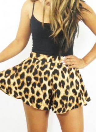 Shorts - Leopard Print High Waisted Flared | UsTrendy