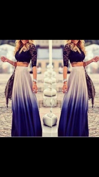 skirt ombre purple white grey