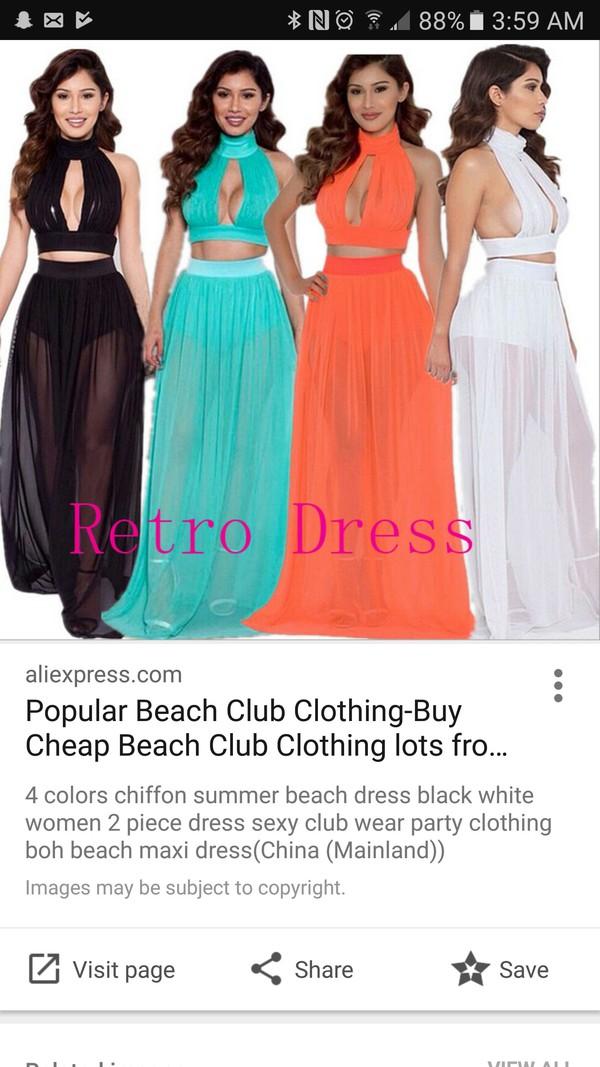 9957e49f04bf8 Chiffon Summer Beach Dress Black White Women Dress Sexy Club Wear ...