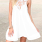 Deep v-neck lace splicing dress|disheefashion