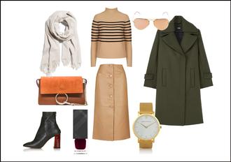 clochet blogger scarf sweater sunglasses bag skirt coat shoes nail polish